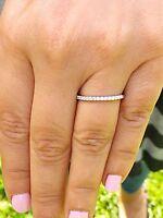 Half Eternity Wedding Ring Band 1ct Round Cut VVS1 Diamond 14k White Gold Finish