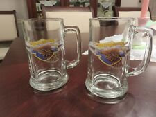 "2 Harley Davidson Flying Eagle Clear Heavy Glass 5 1/2"" Beer Drink 12 oz Mugs EX"