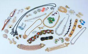 37 Pc LOT Vintage RHINESTONE Repair Jewelry Coro Lisner Weiss Vendome Faux Pearl