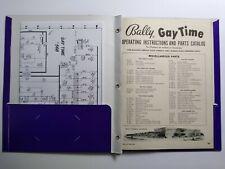 Bally Gay Time Bingo Pinball Machine Parts Instruction Manual + Schematic 1955
