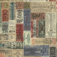 Tim Holtz Eclectic Elements Correspondence Transportation Tickets Multi- Fabric