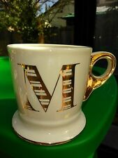 Anthropologie Limited Edition Gold Monogram Coffee Cup Mug LetterMK New