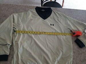 Men's Under Armour Golf Pullover Sz M Tan Zipper pockets