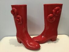 Authentic Chanel Rubber Red Rain Boots with Camelia and CC logo 36