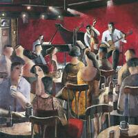 "27W""x27H"" BLUE SMOKE by DIDIER LOURENCO - JAZZ FESTIVAL MUSICIANS SOUL CANVAS"