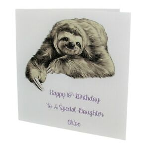 PERSONALISED Sloth FEMALE Relation BIRTHDAY CARD 18th 21st 30th