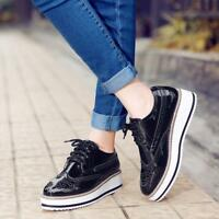 Womens Casual Brogues Oxfords Platform Creeper Shoes Lace Up Wing tip Shoes Size