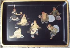 ANTIQUE HAND PAINTED JAPANESE 7 LUCKY GODS BLACK LACQUER WOOD TRAY