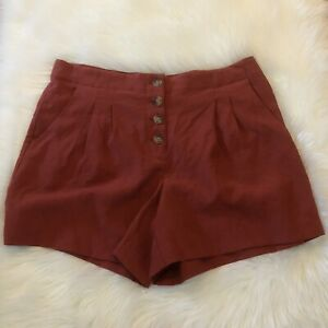 Ann Taylor LOFT High Waisted Button Front Pleated Shorts Size Large Rust Orange