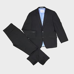 DANIEL HECHTER Mens 2 Piece Suit Jacket Size 40S Trouser 32R W32 L28 Black