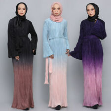 Ramadan Abaya Muslim Women Pleated Maxi Dress Flare Sleeve Kaftan Cocktail Gowns