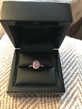 Platinum And Pink Sapphire Cluster Ring