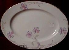 "BOHEMIA CERAMIC china ORCHID/IRIS pattern Oval Meat Serving Platter @ 15"""