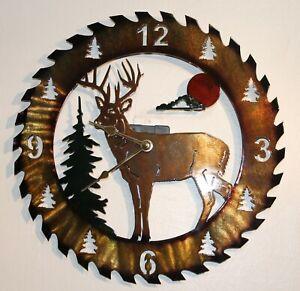 Deer Clock Circular Saw Blade Hand Painted Metal Wall Art Buck Tree Sun Clouds