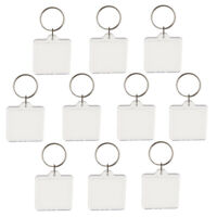 10pcs Square Shape Blank Insert Photo Picture Frame Split Ring Keychain