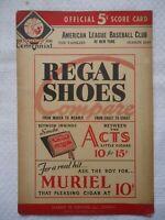 1939 NY Yankees vs Boston Red Sox Baseball Vintage Program Scorecard Dimaggio