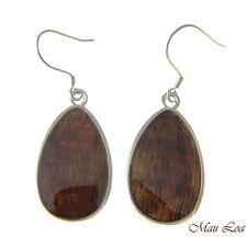 Koa Wood Hawaiian Tribal Teardrop Rhodium Silver Plated Brass Hook Wire Earrings