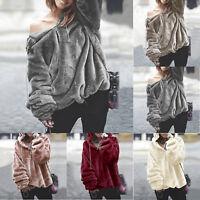 Women Warm Fluffy Sweater Hoodie Pullover Jumper Long Sleeve Hooded Outwear