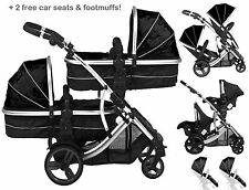 Duellette Twin double Pram newborn babies  Pushchair  carrycot Tandem car seats
