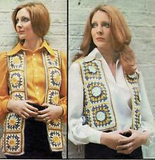 CROCHET PATTERN. Ladies Afghan or short waistcoat, Tunic, top. Also as PDF.