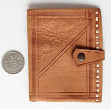 Vintage tooled soft leather wallet embossed scrollwork pattern coin purse