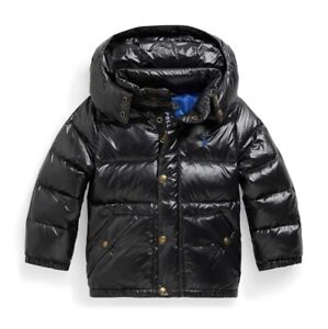 New Ralph Lauren Polo Toddler Boys Water Repellent Down Jacket Black 3/3T NWT