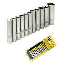 "11pc Deep Socket Set 1/4"" Square Drive Metric Sockets 4-13mm on Rail CR-V Rolson"