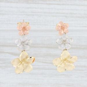 New 3-Toned Plumeria Flower Earrings 14k Rose White Yellow Gold Pierced Dangles