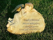 Sadly Missed Grave Memorial Ornament Remembrance Cherub On A Rock