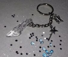 Stunning Cinderella Inspired Glass Slipper Keyring, wand, butterfly charm, Gift