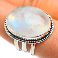 Large Rainbow Moonstone 925 Sterling Silver Ring Size 8.25 Jewelry R46649F