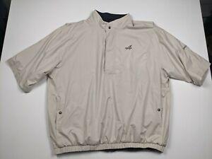 Footjoy Dryjoys Mens 2XL XXL Beige Cream Short Sleeve 1/4 Button Zipper Windshir
