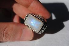 Moonstone Ring ~ 925 Sterling Silver Overlay ~ Size 8 ~ Nice Colour