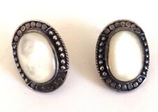 Vintage Oxidized Silver 925 Mother of Pearl Dotted Cable Twist Halo Earrings