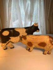 Cow And Pig Shelf Decor 12�x7� And 9�x4 1/2� Farmhouse Country Style