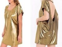 ORIGINAL American Apparel Metallic Jersey Tunic Open Back Shiny Gold XS / S
