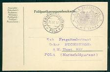 1917, Hungary Naval card, ship 'GAMMA' purple oval cxl