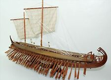 Ancient Trireme Greek 400 B.C  Handcrafted Wooden Warship Model NEW