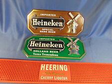 3 beer signs Heineken brown green Cherry Heering red bar change mat advertising