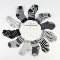 12 Pairs Toddler Baby Boys Anti Slip Crew Walkers Ankle Grip Socks Sets 1-3T USA