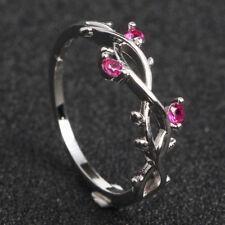 Fashion 18K Gold Red Ruby Bridal Wedding Leaf Ring Anniversary Gift Size 5-11