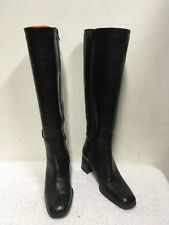 BALLY ROCCAPIA BLACK LEATHER SLIM LEG KNEE LENGTH BUCKLE TRIM BOOTS SIZE 3.5/36