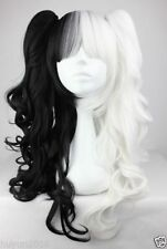 Black and White Curly Pigtails Pony Tails Adult Wig