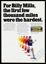 1971 Billy Mills running photo Bank of America Travelers Cheques print ad