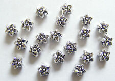 40 Flower Shape Spacer Beads, Spacer Findings - 6.5mm,  Metal Antique Silver