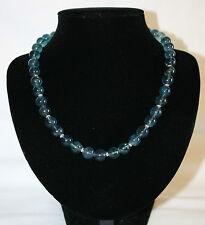 Kette  Halskette aus blauem Fluorit  Fluorit blau mit 925er Silber Länge 46 cm