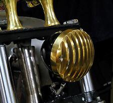 RODDER HEADLIGHT FINNED GRILLED BRASS & BLACK HARLEY TRI XS650 BOBBER CHOPPER