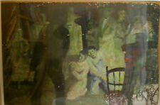 "Powerful Abstract GOYA-STYLE Oil PAINTING of a Bar Scene - 26"" x 38.5"""