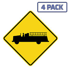 Firetruck Crossing Road Sign Sticker Vinyl Decal 1-1028