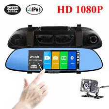 HD 1080P Dual Lens 7'' inch Car Rearview Mirror Camera Recorder DVR Dash Cam IPS
